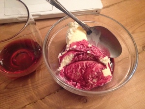 A typical midnight snack example. Full-fat ice cream, blueberry juice, & red wine for anti-inflammatory purposes!