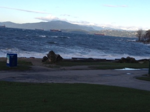 Toward the end of my commute in... English Bay on an epic windstorm day!