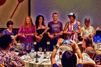 Because I didn't quit, I got to stand beside these champs and we all won amazing, hand-made ukulele's with wood derived harmlessly from the HURT course!