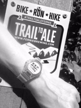 A shot from the FBC Trail to Ale Challenge. These awesome little trail signs were made for each of the goals along the way, and we had to snap a pic with our time for evidence!
