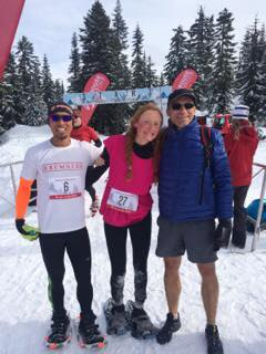 Party dress finish at the Grouse Snowshoe Grind. Great racing by Herman & amazing cheering by Terry!
