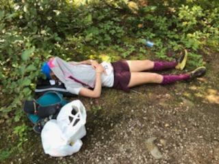Alicia napping at Ultra Trail Harricana